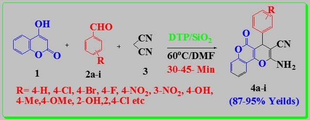 DTP/SiO2:An Efficient And Reusable Heterogeneous Catalyst For synthesis of dihydropyrano[3,2-c]chromene-3-carbonitrile derivatives