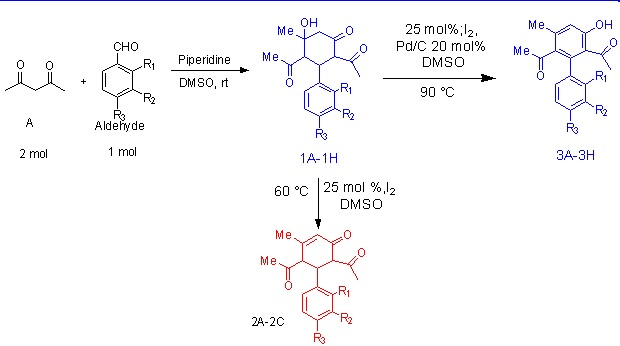 Iodine‐DMSO Catalyzed aromatization of Polysubstituted Cyclohexanone derivatives; An efficient methods for the synthesis of polyfunctionized Biaryls derivatives